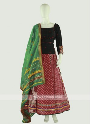 Black & Red Chaniya Choli With Dupatta