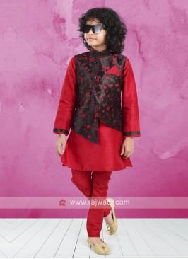 Black & Red Koti Set For Boys