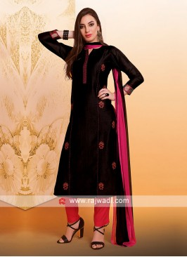 Black Resham Work Trouser Suit