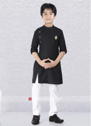 Black Round Neck Kurta Set For Boys