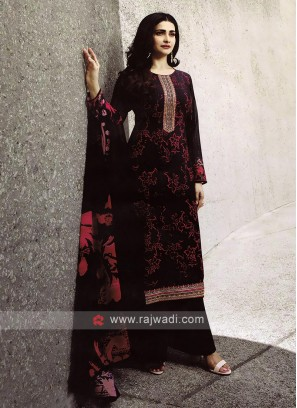 Black Salwar Kameez With Printed Dupatta