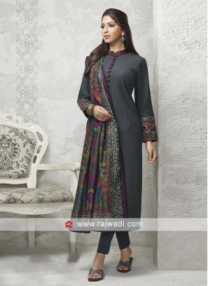 Black salwar suit with multi color dupatta