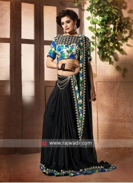 Black Saree with Contrast Blouse