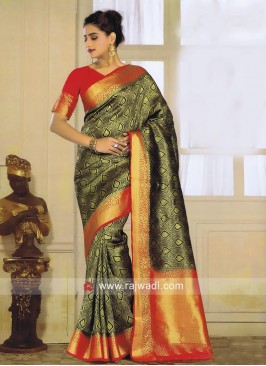 Black Saree with Contrast Border