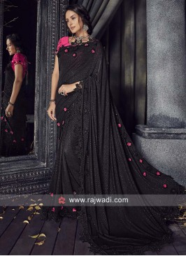 Black Saree with Pink Blouse