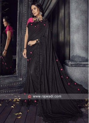 Black Saree with Pink Blouse