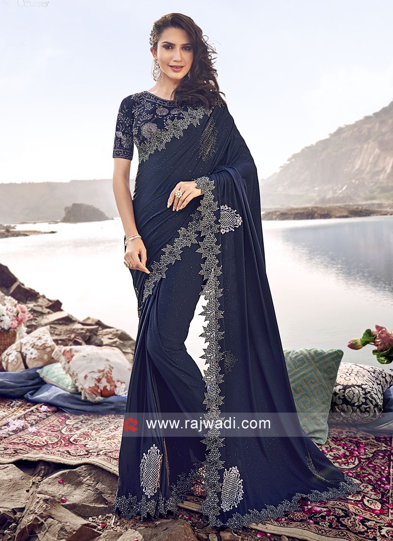 Party Wear Dark Blue Saree