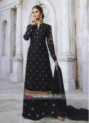 Black Satin Embroidered Palazzo Suit