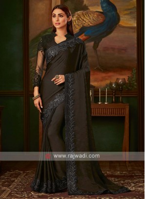 Black satin silk saree with blouse