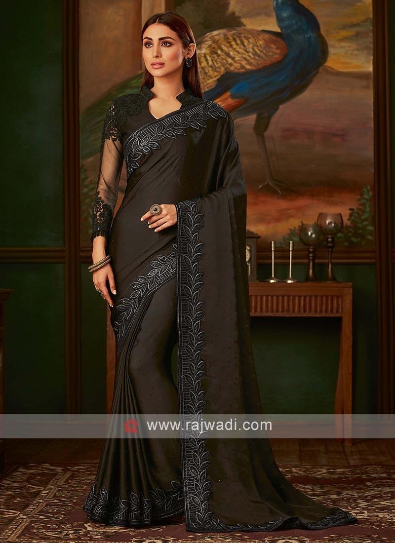Black satin silk saree with blouse