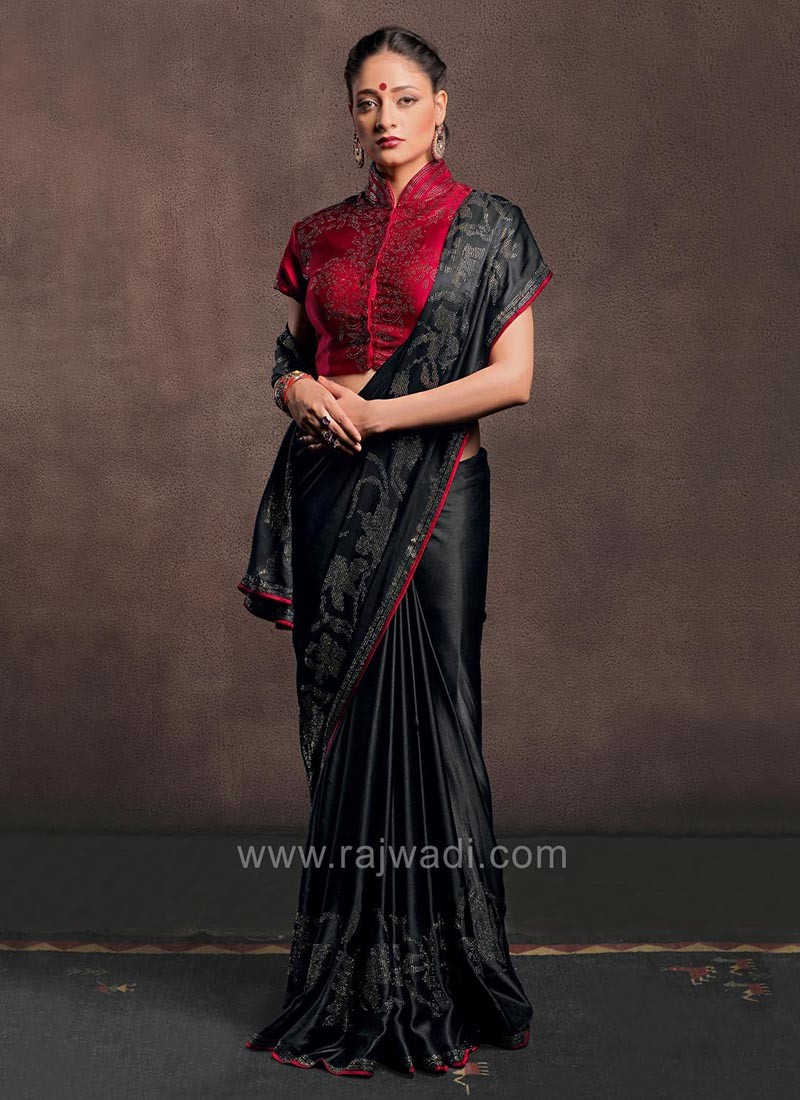 c31aec6caf2375 Black Satin Silk Saree with Ready Blouse. Hover to zoom