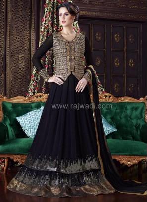 Black Semi Stitched Designer Dress Material