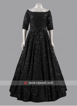 Black Sequins Work Gown