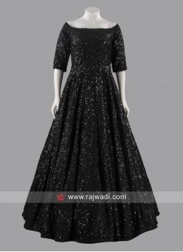 Black Sequins Work Gown