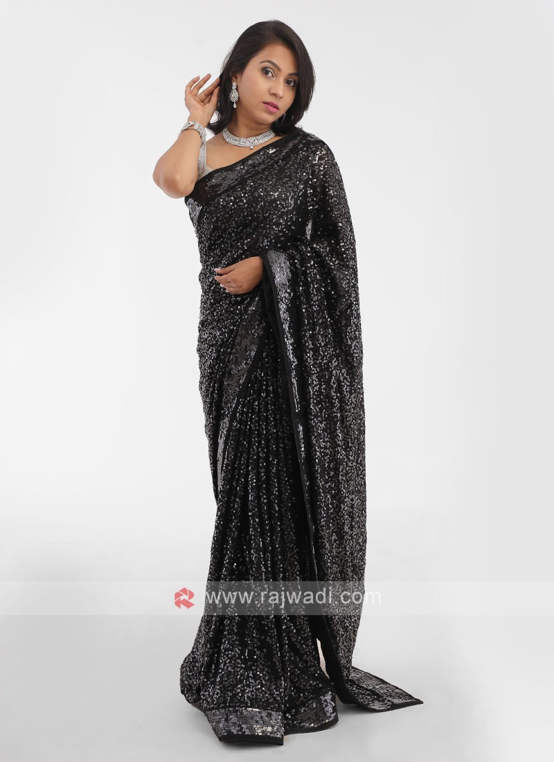 Black Sequins Work Saree
