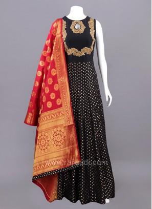 Black Silk Anarkali Dress