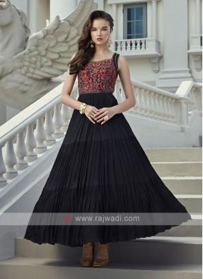 Black Silk and Chiffon Fabric Anarkali Suit