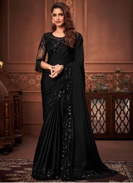 Black Silk Patch Border Designer Saree