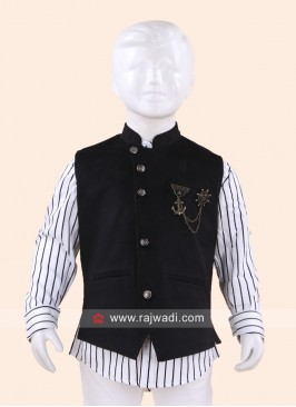 Black Sleeveless Waist Coat for Boys