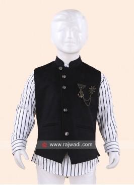 Black Sleeveless Waist Coat for Boys
