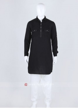 Black Solid Pathani Suit