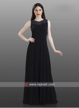 Black Stone Work Floor Length Kurti
