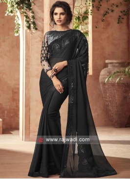 Black Stone Work Saree