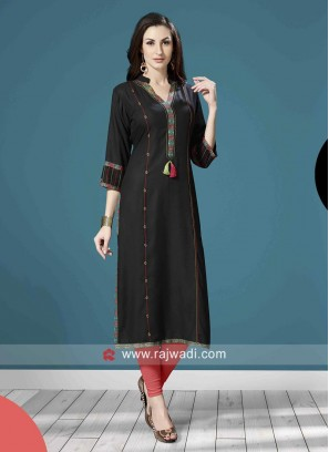 Black Straight Fit Cotton Kurti