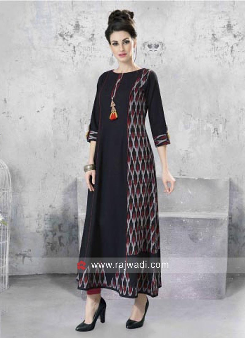 Black straight Fit Long Kurti