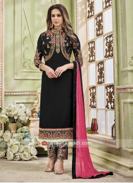 Black Straight Pakistani Suit with Koti