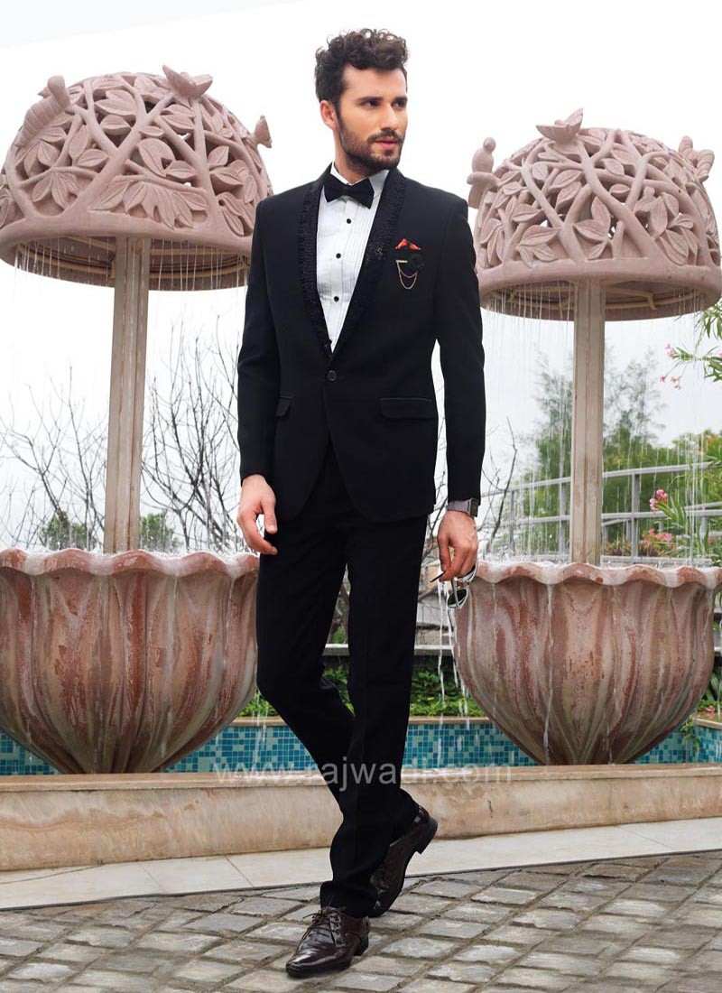 Black Suit With Tuxedo Piping