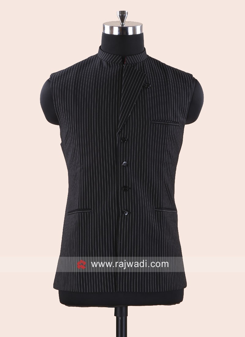 Black Terry Cotton Koti With Fancy Buttons