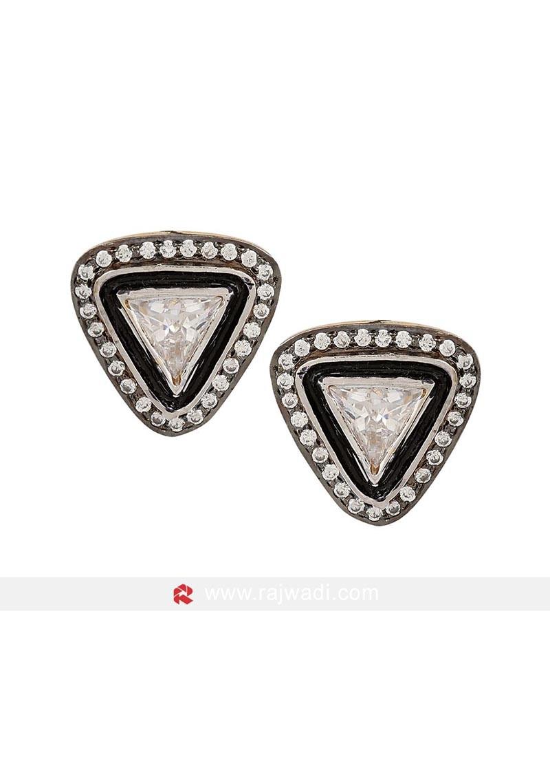 Black Tringle Shaped Stud Earrings