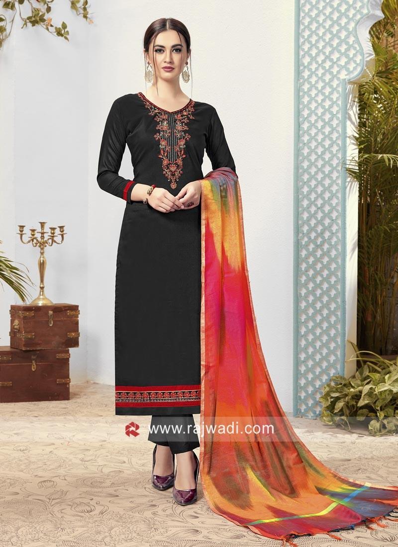 Black Trouser Suit with Contrast Dupatta
