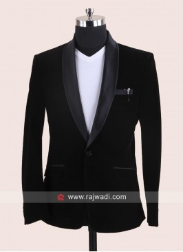 Black Velvet Fabric Blazer
