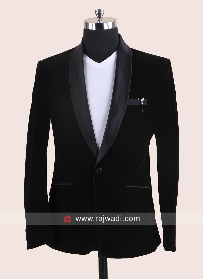 Black Velvet Fabric Blazer