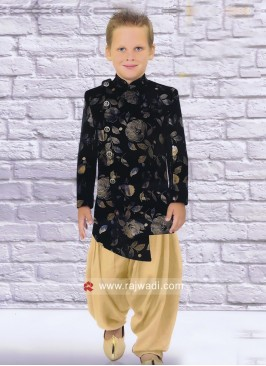 Black Velvet Fabric Boys Indo Western