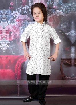 Black & White Boys Pathani Suit