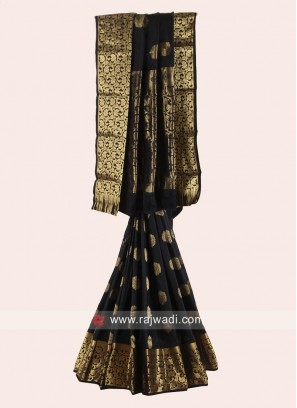 Black Woven Saree with Blouse