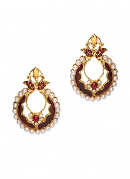 Bling Marsala Pearl Earrings