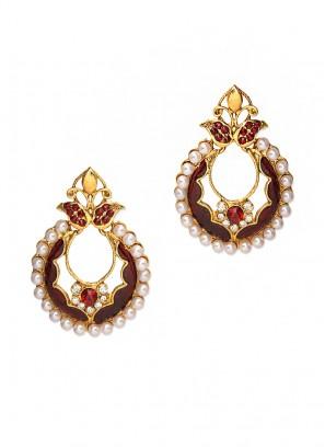 Bling Marsala Pearl Earrings