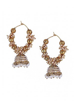 Bling Metal Balls Pearl Jhumki Earrings