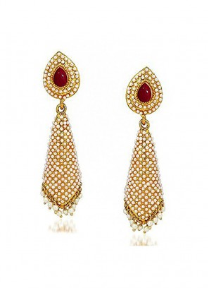 Bling Pearl Cone Red Jhumka Earrings