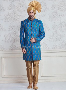 Block Print Groom Indo Western Sherwani in Blue