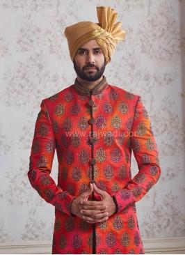 Block Print Wedding Indo Western Sherwani