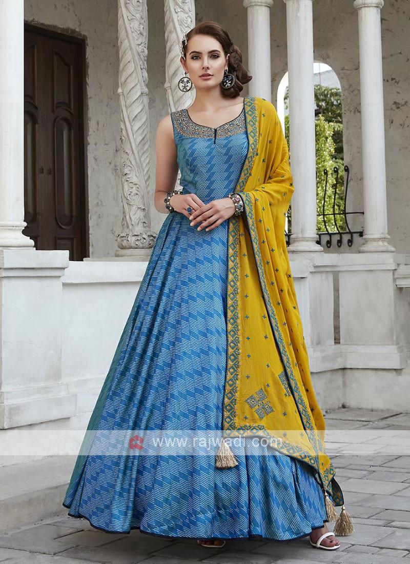 Blue Anarkali Dress with Mustard Yellow Dupatta