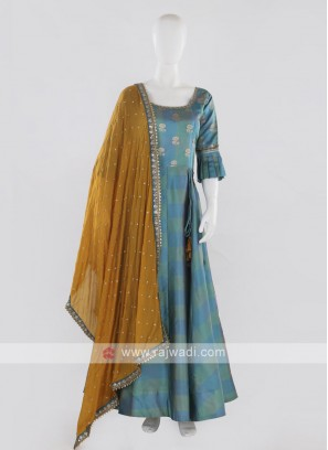 Blue Anarkali Suit with dupatta