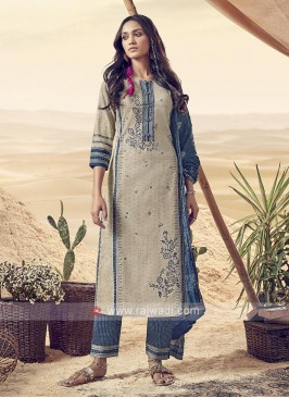 Shagufta Blue And Beige Pant Salwar Suit