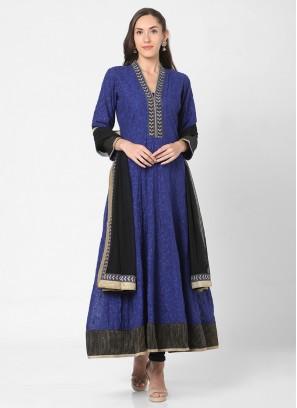 Blue And Black Color Anarkali Suit