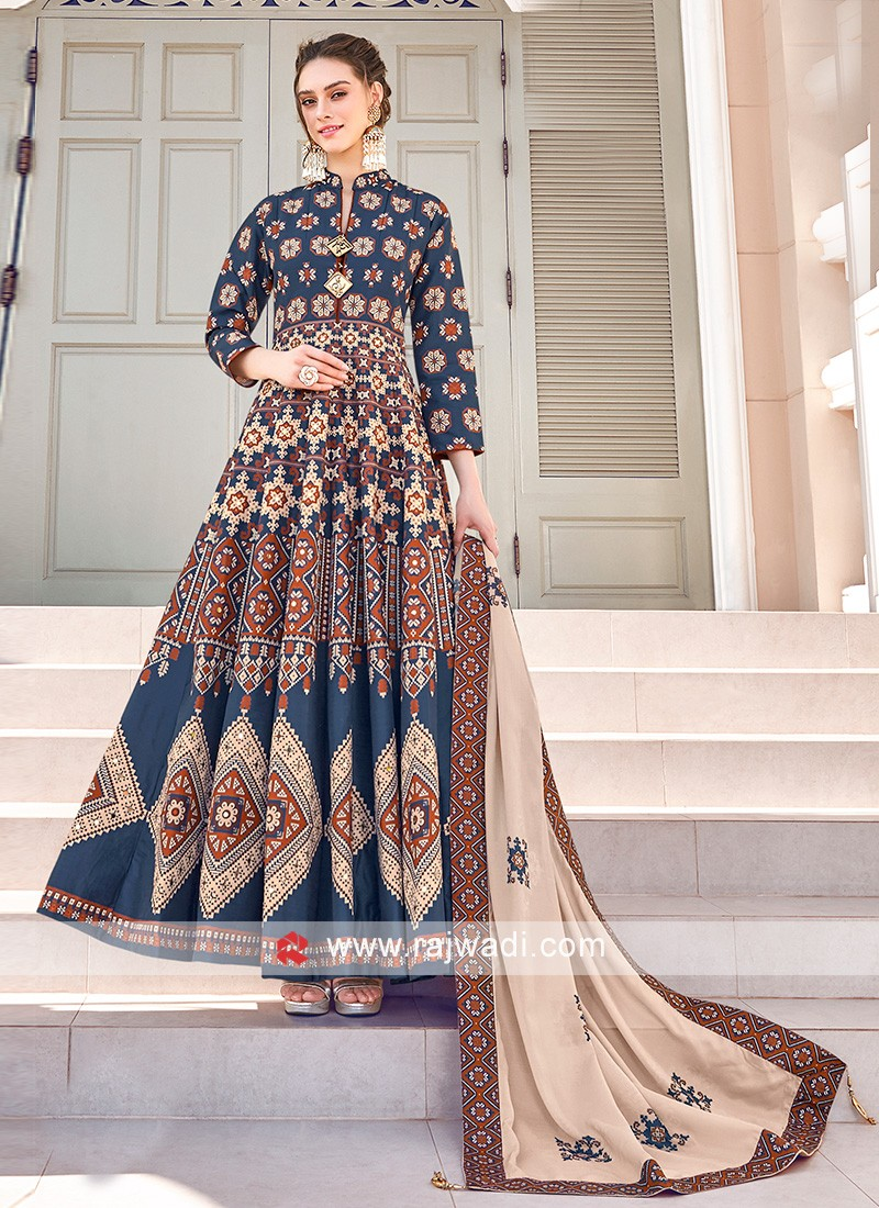 Blue and Brown Colour Anarkali Suit With Skin Colour Dupatta
